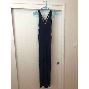 Anthropologie's Maeve floor length navy maxi dress